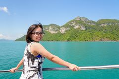 Asian woman on the boat Royalty Free Stock Photography