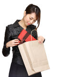 Asian woman bought a gift Stock Photography