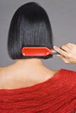 Asian Woman Brushing Her Short Hair Stock Images