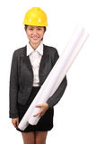Asian woman in business engineering wear holding large rolls of drawings Stock Image