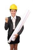 Asian woman in business engineering wear holding large rolls of drawings and showing success sign Royalty Free Stock Photo