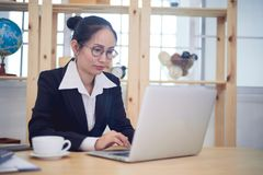 Asian woman business owner work at home.  stock photo