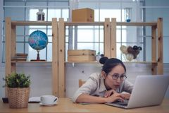 Asian woman business owner work at home.  royalty free stock photo