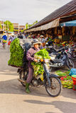 Asian woman buyer or seller in motor bicycle with salading Stock Photos