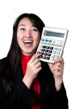 Asian woman with calculator. Happy Asian woman with calculator at white background Stock Photo