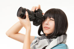 Asian woman and camera Royalty Free Stock Photography