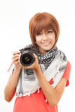 Asian woman and camera Royalty Free Stock Photo