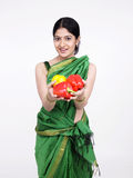 Asian woman with capsicum Stock Photography