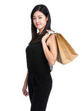 Asian woman carry shopping bag Royalty Free Stock Images