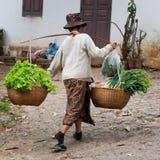 Asian woman carrying a yoke. stock photo