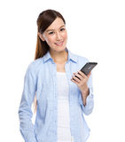 Asian Woman with cell phone Royalty Free Stock Photography