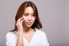 Asian woman on cellphone royalty free stock photos