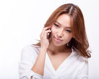 Asian woman on cellphone royalty free stock photography