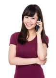 Asian woman chat on the mobile phone Stock Photos