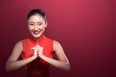 Asian woman in cheongsam dress Stock Photos