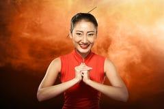Asian woman in cheongsam dress Royalty Free Stock Image