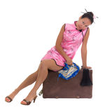 Asian woman in chinese dress with old case Stock Photos