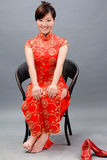 Asian woman in chinese red. Stock Photos