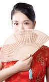 Asian woman in chinese red Royalty Free Stock Images