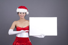 Asian Woman in Christmas Costume with a Blank Sign Stock Photography