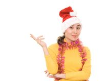 Asian woman in Christmas hat Stock Photos