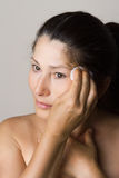Asian woman clean face Royalty Free Stock Image