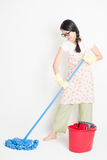 Asian Woman Cleaning floor Royalty Free Stock Photography