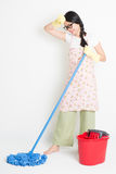 Asian Woman Cleaning with mop and bucket Royalty Free Stock Photos