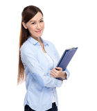 Asian Woman with clipboard Royalty Free Stock Photography