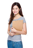 Asian Woman with clipboard Stock Image