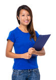 Asian woman with clipboard Royalty Free Stock Images
