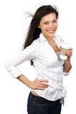 Asian woman with coffee Stock Image