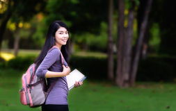 Asian woman college student Stock Image