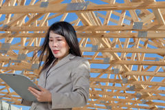 Asian Woman contractor Royalty Free Stock Photo