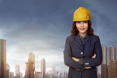 Asian woman contractor Stock Images