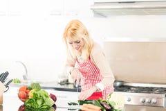 Asian woman cooking food Stock Photos