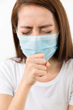 Asian woman cough with protective mask. At home Royalty Free Stock Photography