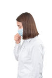 Asian woman cough with protective masks Stock Photo