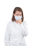 Asian woman cough with protective masks Stock Image