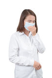 Asian woman cough with protective masks Royalty Free Stock Images