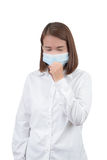 Asian woman cough with protective masks Royalty Free Stock Image