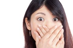 Asian Woman Covering her Mouth Royalty Free Stock Photo