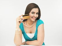 Asian woman with credit card royalty free stock photo