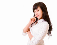Asian woman with cunning smile Stock Photos