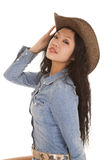 Asian woman denim dress hat looking Stock Photo