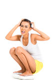 Asian woman despair on gain weight Royalty Free Stock Photo