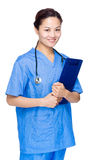 Asian woman doctor with file pad Stock Photo