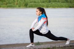 Asian woman doing exercise at the morning outdoor Royalty Free Stock Image