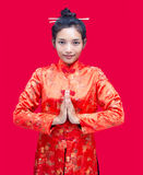 Asian woman doing traditional greeting Stock Images