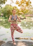 Yoga in the park healthy exercise. royalty free stock photo